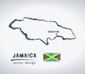 Jamaica national vector drawing map on white background