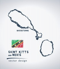 Saint Kitts and Nevis vector chalk drawing map isolated on a white background