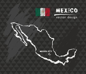 Map of Mexico, Chalk sketch vector illustration
