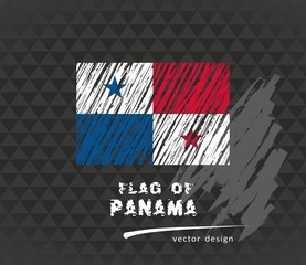 Panama flag, vector sketch hand drawn illustration on dark grunge background
