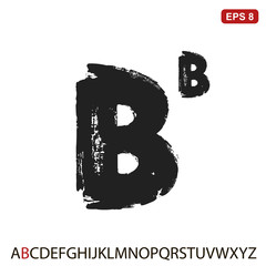 "Black capital handwritten vector letter ""B"" on a white background. Drawn by semi-dry brush with unpainted areas."