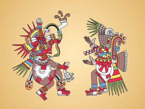 Quetzalcoatl, feathered serpent, god of Wind and Wisdom, left. Tezcatlipoca, Smoking Mirror, god of Magic and Darkness, right. Twin brothers. Aztec gods as depicted in old manuscript painting. Vector.