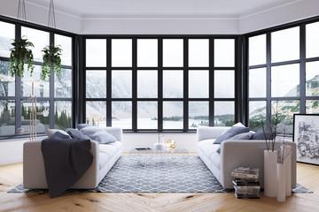 Blick aus dem Fenster im Wohnzimmer