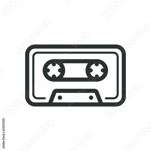 Black and white icon of old school music cassette