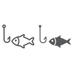 Fishing line and glyph icon, animal and underwater, hook sign vector graphics, a linear pattern on a white background, eps 10.