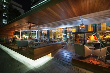 Modern restaurant terrace in the summer night