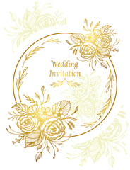 Elegant Wedding Invitation card or Template with hand drawn flowers bouquet gold on white