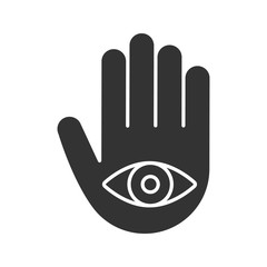 Eye in hand glyph icon