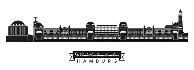 St Pauli Piers and Old Elbe Tunnel buildings silhouette