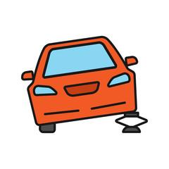 Portable car jack color icon