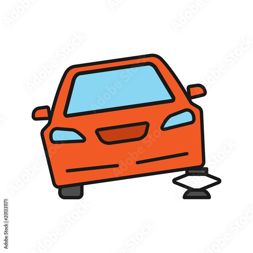 Portable Car Jack Color Icon