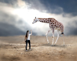 Woman with giraffe