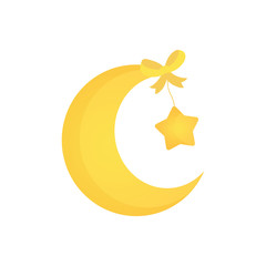 Cute cartoon yellow Moon for Baby shower cards.
