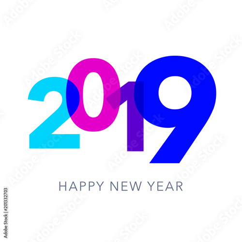 2019 happy new year greeting card or web banner