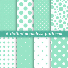 Set of 8 seamless patterns with polka dots