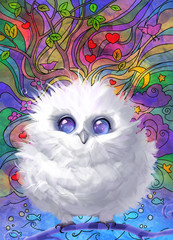 Digital raster cartoon illustration of a funny fluffy white owl with cosmic eyes sitting on a curly branch on a colorful background