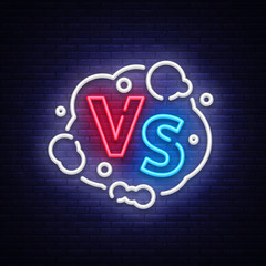 Versus neon sign vector. Versus logo, symbol in neon style. Design template light banner, night advertising. Battle vs match, game concept competitive vs