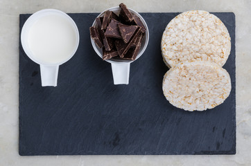 Ingredients for home rice cakes with chocolate