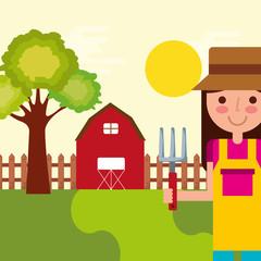 girl gardener farm barn tree fence natural vector illustration