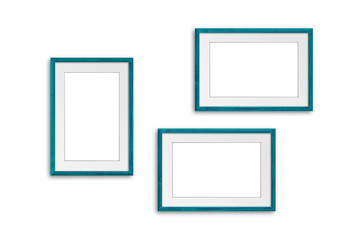 Three photo frames isolated on white background