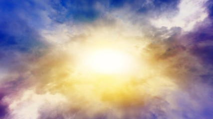 solar explosion .  Light from sky . Religion background . Sunset or sunrise with clouds, light rays and other atmospheric effect .