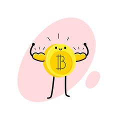 Cartoon bitcoin character.