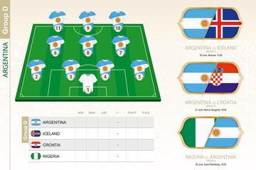 Argentina football team infographic for football tournament.