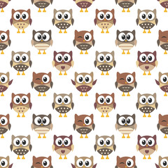 pattern with cute owls on white background