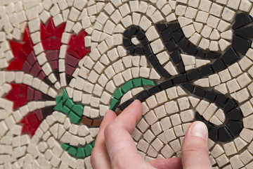 make flower board with stones. mosaic handmade concept for course.