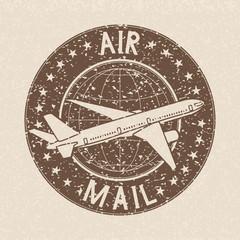 Air mail stamp. Brown grunge ink postmark on beige background