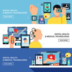 Digital Health Flat Banners Set
