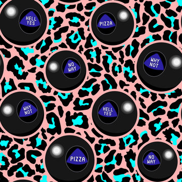 Magic ball (fortune telling toy) seamless pattern. Colorful design for wallpapers, graphic t-shirts, sweatshirts, etc. Neon background.