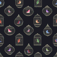 Vector pattern of colored birds of prisoners in golden cages. The rods of bird cages are entwined with ivy.