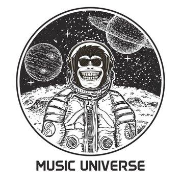 Music universe vector modern t-shirt design template