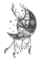 Vector boho deer tattoo or t-shirt print design