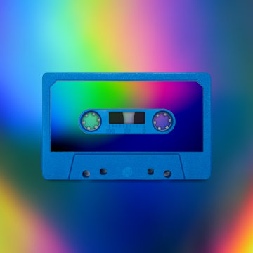 Cassette tape nostalgia, isolated and presented in intense iridescent holographic colors, for creative design cover, poster, book, printing, gift card, flyer, magazine, web & print