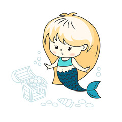 Cute little mermaid with a treasure chest and seashell