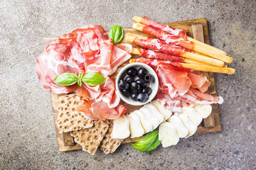 Cold meat plate with cheese
