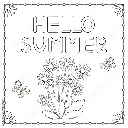 Hand drawn text Hello summer, flowers and butterflies