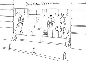 Clothing store shop exterior graphic black white boutique sketch illustration vector