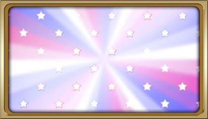 Stock Illustration - Golden Framed Rectangle Empty Background For American Holidays, 3D, Template for American Holidays.