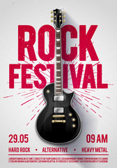 Fototapeta vector illustration rock festival concert party flyer or poster design template with guitar, place for text and cool effects in the background obraz