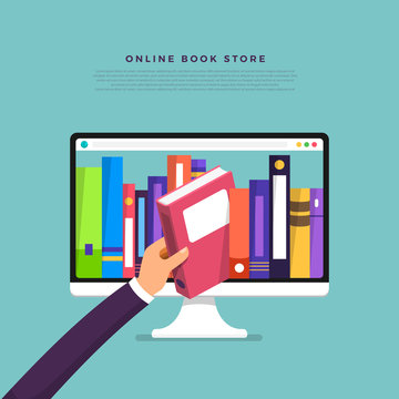 Flat design concept online books store. Hand pick book from internet device. Vector illustrate.