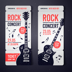 vector illustration black rock concert ticket design template with black guitar and cool grunge effects in the background