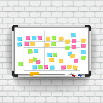 Empty whiteboard with marker pens and note paper. Business presentation office white board isolated vector mockup. Vector illustrate.