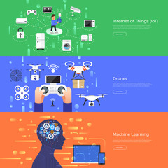 Flat design concept internet of thing, drones and machine learning. Vector Illustrate.