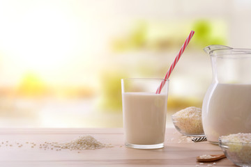 Drink of rice in a glass with straw
