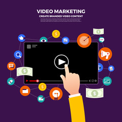 Flat design vlog concept. Create video content and make money. Vector illustrate.