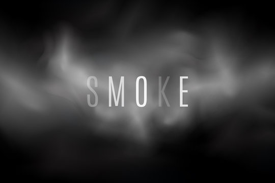 Thick smoke on a transparent dark background. Light steam. Smoke from the fire. Thick cloud. Transparent text. Cover with a smoke effect for your design. Vector illustration