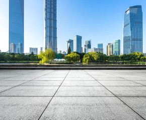 Wall Mural - empty floor with modern office building